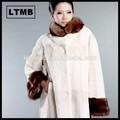 Les femmes blanches 2015 rex manteau de fourrure de lapin avec col en fourrure de couleur blanche peau stoat hiver