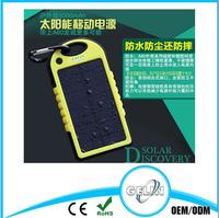 portable power bank solar panel 5000mah solar power bank,waterproof power bank
