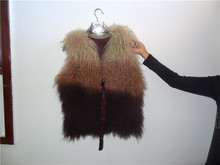 Wholesale Dyed Color Tibetan Mongolian Sheepskin Waistcoat