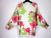 Hot sale fashion print design cardigan sweater women flower pattern plus size knitted sweater