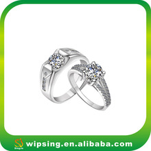 Classic 925 Sterling Silver King and Queen Engagement and Wedding Ring