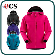 new style plum purple Stretch-woven cuffs Ladies softshell jacket with hood