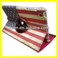 For Apple iPad Mini 1/2 360 roataing the USA Flag design Leather Case ,auto sleep wake function for ipad mini 1/2