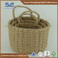 Fashionable Hand Weaving Paper Rope Storage Basket With Handles For Paper, High Quality Paper Rope Storage Basket