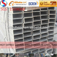 different size hot dipped rectangular galvanized steel pipe/tube