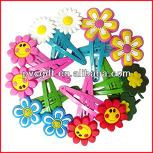 2015 Stylish beautiful 3d soft pvc custom hairpins/hairclips