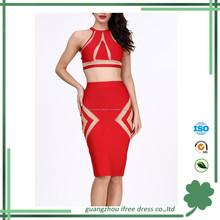 2015 sexy de dos piezas conjunto bodycon moda vestido de partido último diseño vestido