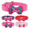 Bowtie Dog Collar Leather Collar With Bow tie For Dogs