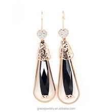 2015 Long Jet Crystal Handmade Earrings For Women