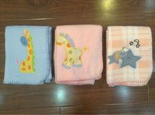 microfiber polar fleece embroidery baby blanket