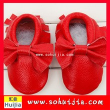 Environmentally-friendly materials 2015 cow bow Soft Toddler Non-slip Shoes