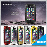 Love Mei Aluminum Waterproof Case For Iphone 6 ,For Iphone 6 Love Mei Case Metal Gorilla Glass Cover