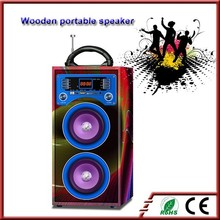 Portable karaoke wood USB music speaker with microphone input
