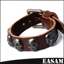 2015 Wholsale Real Leather Skull Charming Adjustable Metal Buckle for snap buttons Charms