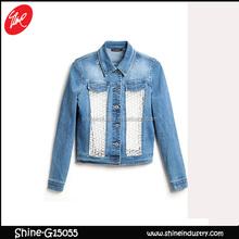 2015 Fashion Style Women Jeans Frayed Bud silk Denim Jacket
