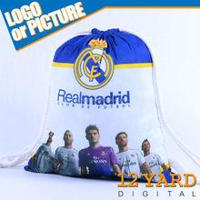 2015 Online Sale sublimation printed Real Madrid soccer fans popular school drawsting bag