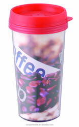 Inserted Paper Sipper Top Eco Friendly Non Disposable Plastic Cups for Coffee