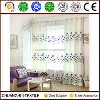 embroidered tulip cafe living room curtain natural material grommet curtain