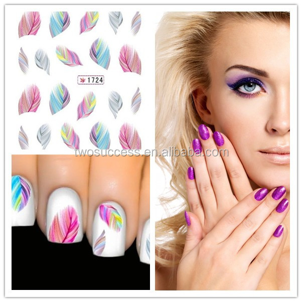 Colorful feather pattern water transfer nail art decal stickers