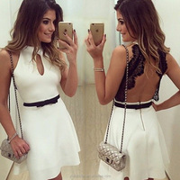 2015 summer hot style Europe former single white snow spins round collar sleeveless backless lace dress