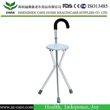CARE foldable walking stick with seat/walking cane seat