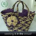 Elegante color púrpura flor de bolsas de paja, crochet bolso del diseñador