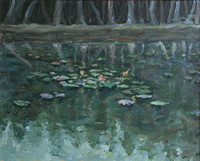 Lotus pond artwork Abstract handmade Oil Painting On Canvas For Decoration