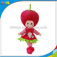 EN71 Approval 13 Inch Strawberry Fruit Doll Plush Baby Dolls Singing Vinyl Baby Dolls