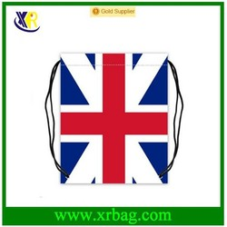 UK flag small cotton drawstring bag