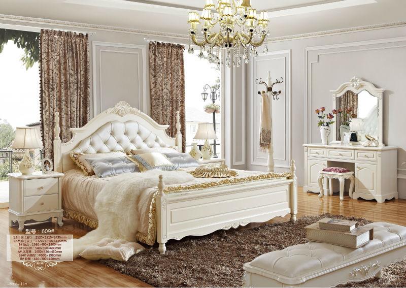 5 Luxe Fran Ais N O Classique Meubles De Chambre Blanche Royale Europ Enne Rococo Lit Ensemble
