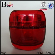 red cream jar with red cap, octangle shape, 50g, do logo printing, one free sample