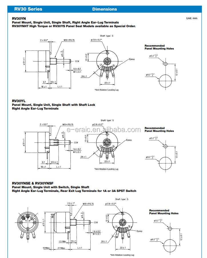 Rv30yn 20s B502 Rotary Potentiometer 5 K Ohm Carbon Single
