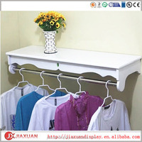 wood clothing hanging wall shelf, cloth folding wall shelf, clothes display wall shelf