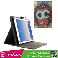 Paypal Accepted Universal Leather Case for 10.1-Inch / 9.7-Inch Tablet w/ Stand , Size: 279 x 180mm - Cute Owl
