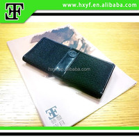Wholesale Classic long genuine leather embroider canvas men's branded wallet
