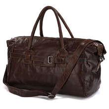 Duffle Bag for Men Cowboy Cross Body Classic Vintage Leather Travel Bag #7079Q