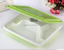 650ml green white 4 compartment folding rectangular disposable plastic food containers