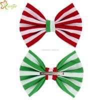 "2015 Hot-sale European Christmas Gift Striped Cotton Barrette Trendy Baby Girl DIY 5"" Bow Clip Hair Accessories Hair Clip/Pin"