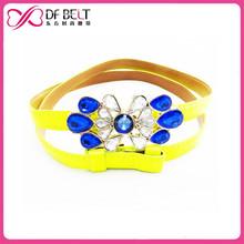 womans yellow pu leather skinny belt with rhinestone crystal belt