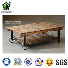 Retro industrial metal dining table wooden top