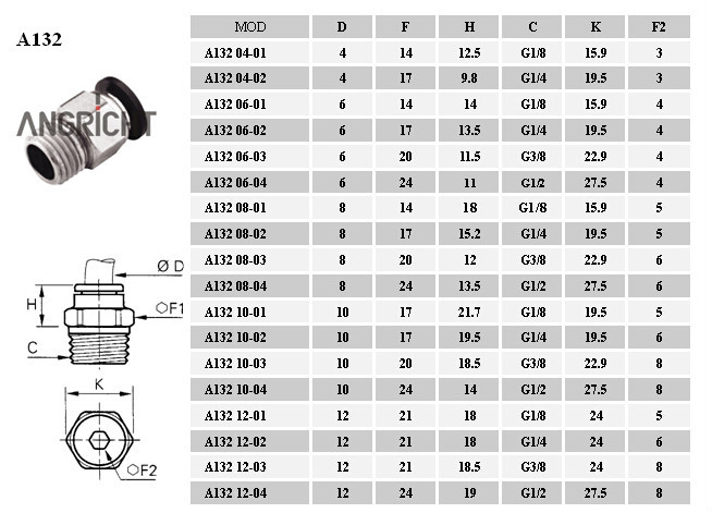 A132 мужской шпильки резьбовые push in quick connect pc воздуха, фитинги