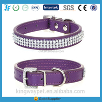 Purple Rhinestone Crystal Bling Pu Leather Dog Cat collar Pet Collar