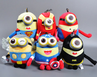 6pcs/lot 23CM 3D The Minions Captain America Superman Spider-Man Batman Thor Ironman Plush Toy Despicable Me Doll Kids toys Gift