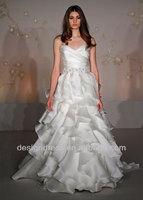 2014 New Fashion JH8050 Organza A-line Strapless Embroidery Bias Cut Asymmetrical Ruffle Wedding Dress With High Quality