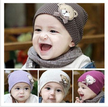 Korean cartoon Winnie the labeling quality cotton cap hat newborn baby boys and girls head cap sleeve