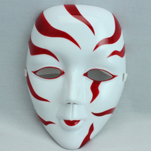 X-MERRY interesting dancer mask red color paint stripe Plastic mask dancing party dressup Mask