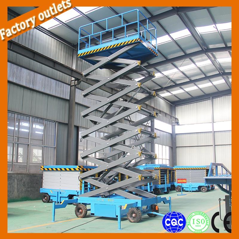 14 m mobile hydraulic remolcable tijera plataforma elevadora para trabajo