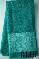 R118 tear green beads dry lace fabric top quality party dress fabric french dry net lace