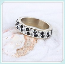 Latest design mix crystal color crystal and jet 2 rows 24 carat gold ring