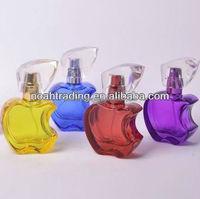 colorful small apple shape glass 20ml perfume bottle, purple bottle perfume, fancy perfume bottle